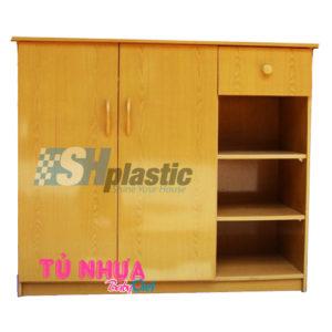 Mẫu tủ giày nhựa 2 cánh 1 ngăn nâu vân gỗ / SHplastic TG10