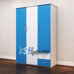 Tủ quần áo nhựa người lớn 3 cánh mở Xanh Trắng / SHplastic TL06