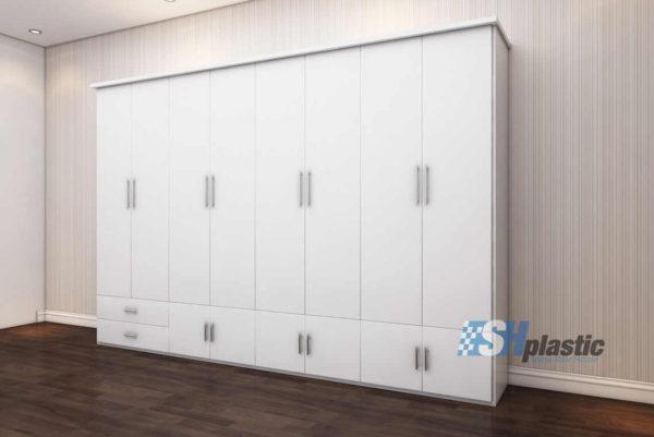 Tủ nhựa người lớn full 8 cánh 8 ngăn kịch trần Trắng Sứ / SHplastic TL27