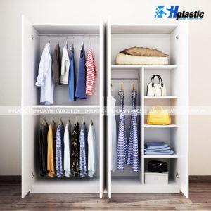 Tủ nhựa quần áo người lớn Full 4 cánh Trắng Sữa / SHplastic TL52