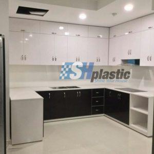 Tủ bếp nhựa Đài Loan chữ U phối màu / SHPlastic TB19