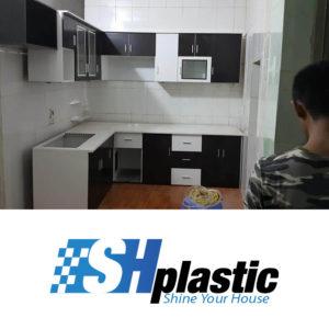 Tủ bếp nhựa Đài Loan chữ L trắng phối nâu / SHPlastic TB10