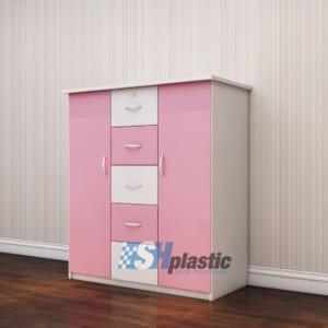 Mẫu tủ nhựa Trẻ Em 2 cánh 5 ngăn kéo / SHplastic TN24